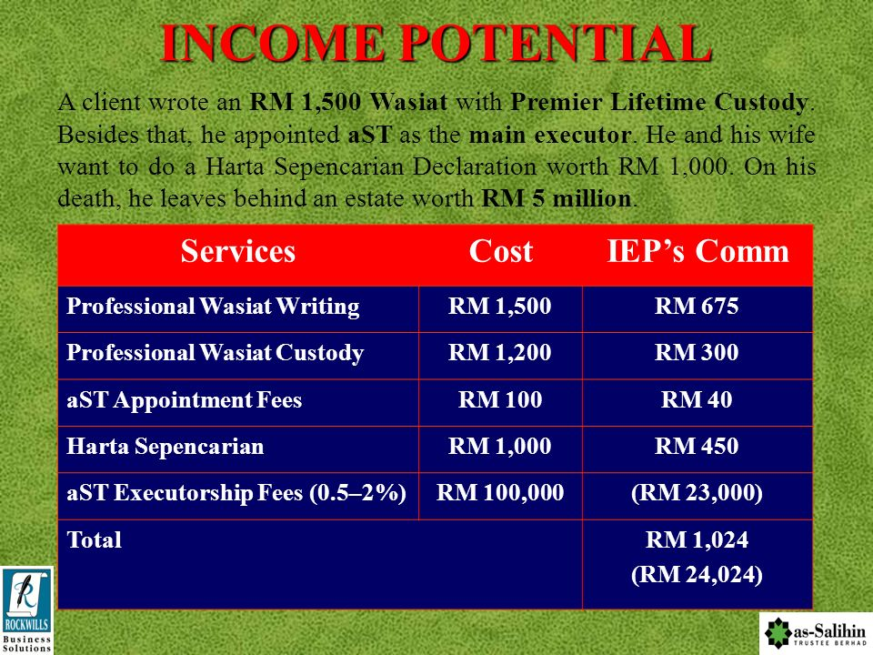 INCOME POTENTIAL Services Cost IEP's Comm