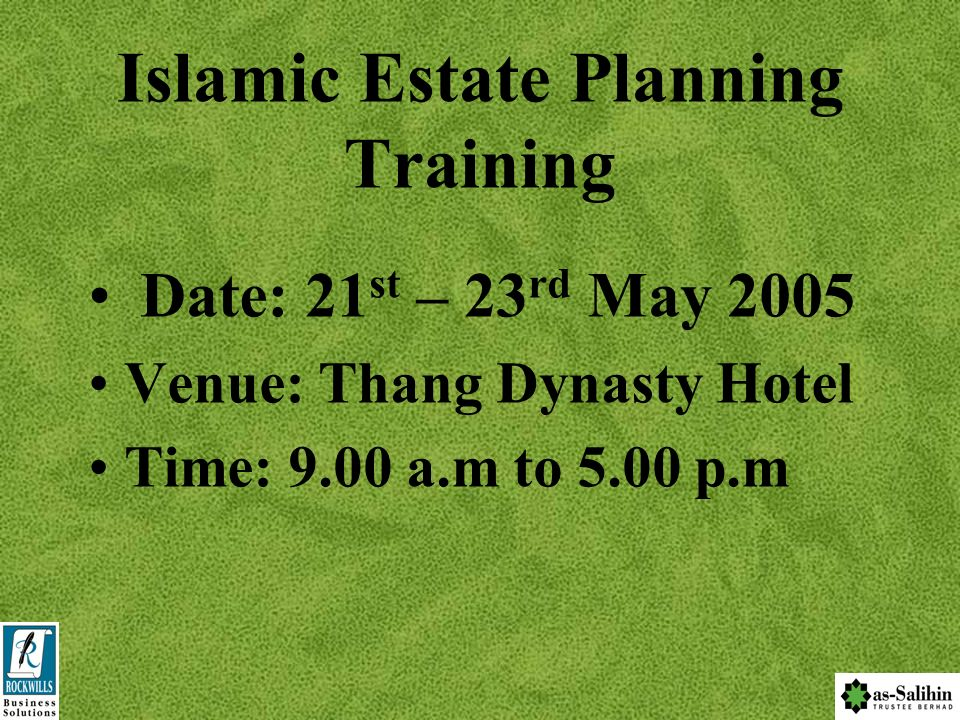 Islamic Estate Planning Training