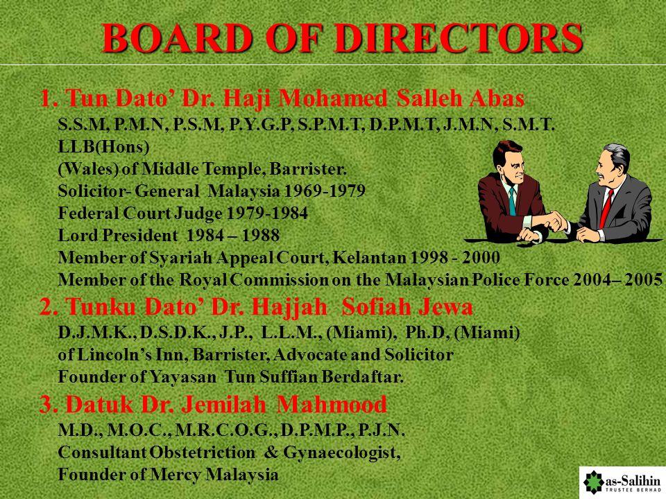 BOARD OF DIRECTORS 1. Tun Dato' Dr. Haji Mohamed Salleh Abas