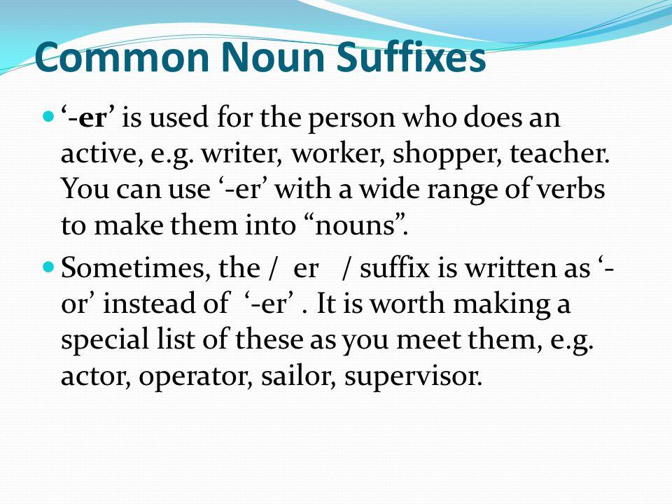 Common Noun Suffixes