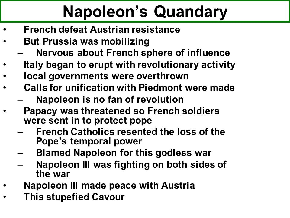 Napoleon's Quandary French defeat Austrian resistance