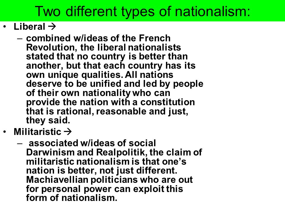 Two different types of nationalism:
