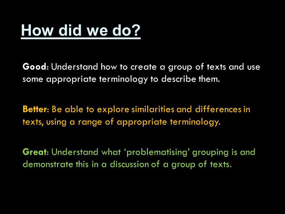 How did we do Good: Understand how to create a group of texts and use some appropriate terminology to describe them.