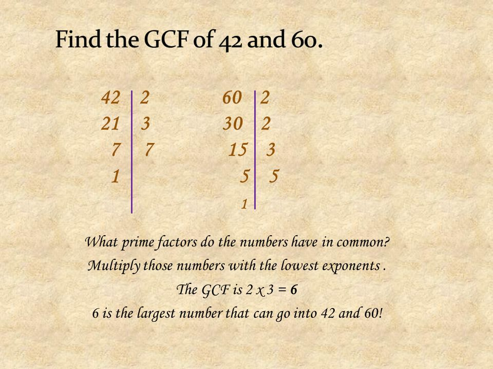 Find the GCF of 42 and 60. 2 60 2. 3 30 2. 7 7 15 3.