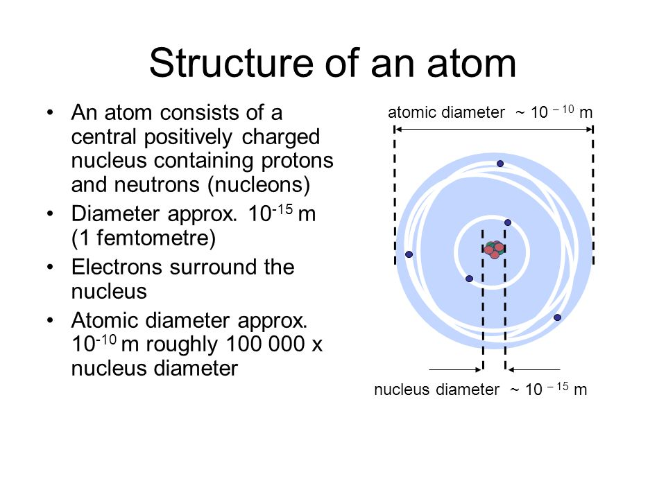 Structure of an atom An atom consists of a central positively charged nucleus containing protons and neutrons (nucleons)