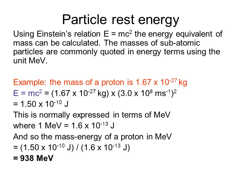 Particle rest energy