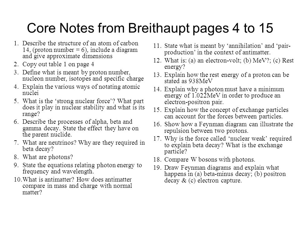 Core Notes from Breithaupt pages 4 to 15