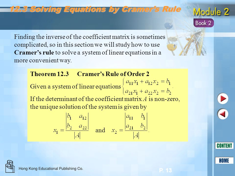 12.3 Solving Equations by Cramer's Rule