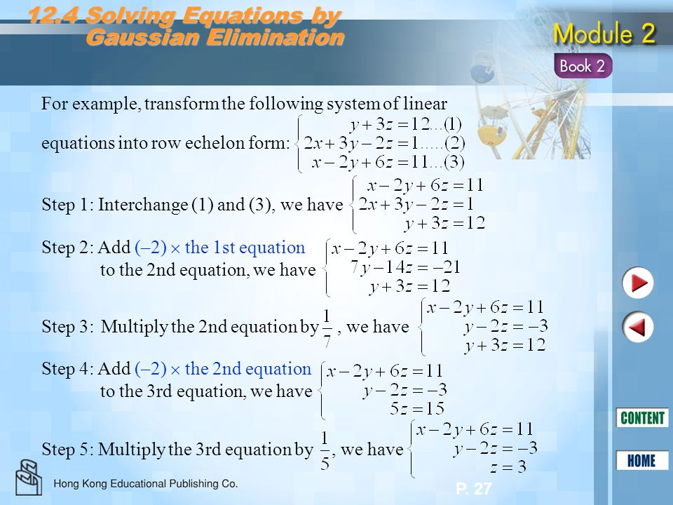 12.4 Solving Equations by Gaussian Elimination