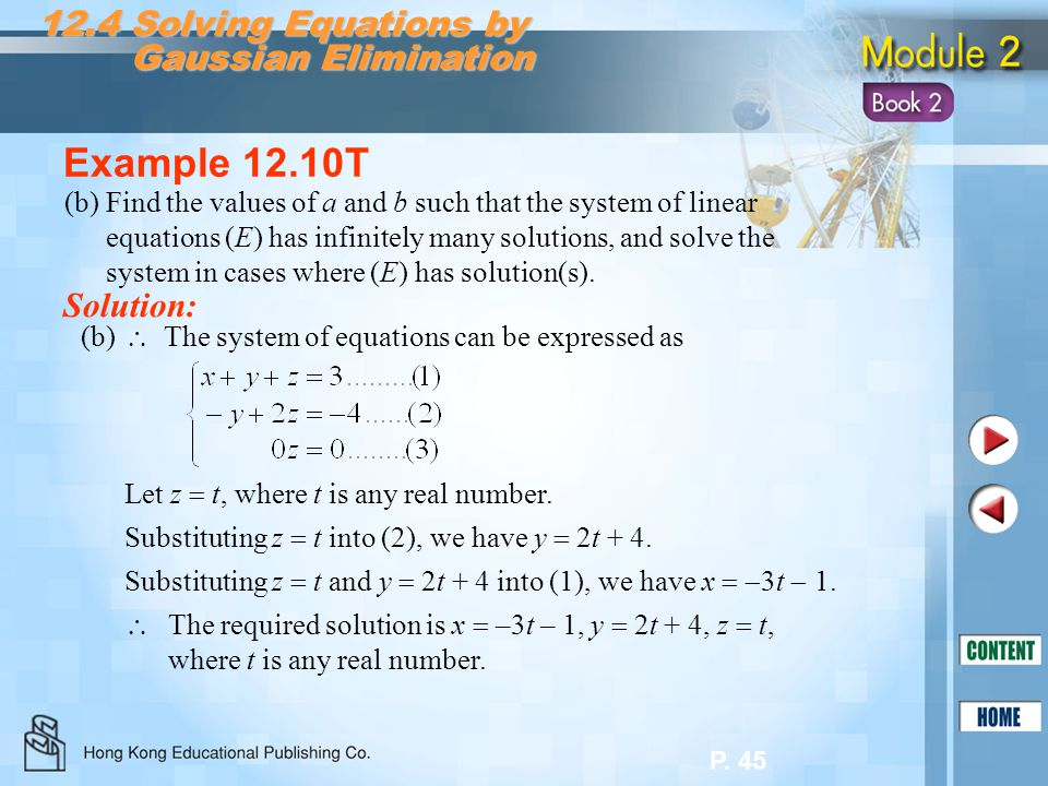 Example 12.10T 12.4 Solving Equations by Gaussian Elimination