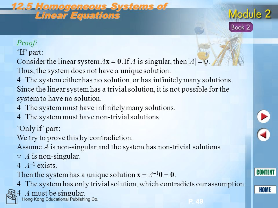 12.5 Homogeneous Systems of Linear Equations
