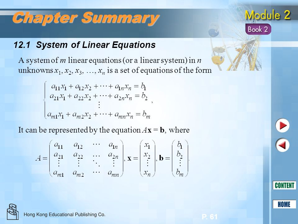 Chapter Summary 12.1 System of Linear Equations