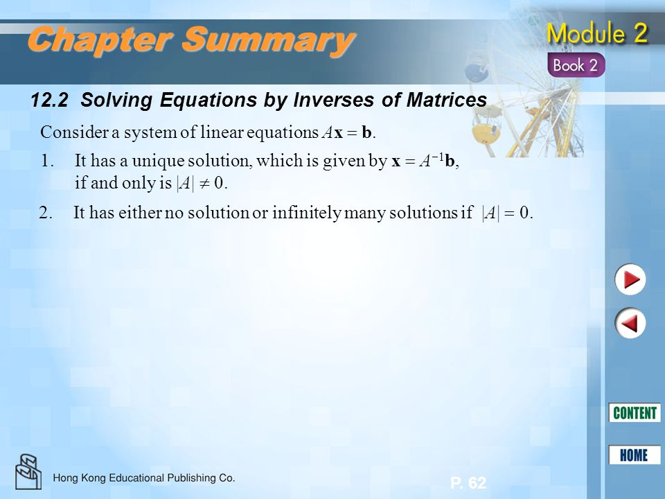 Chapter Summary 12.2 Solving Equations by Inverses of Matrices