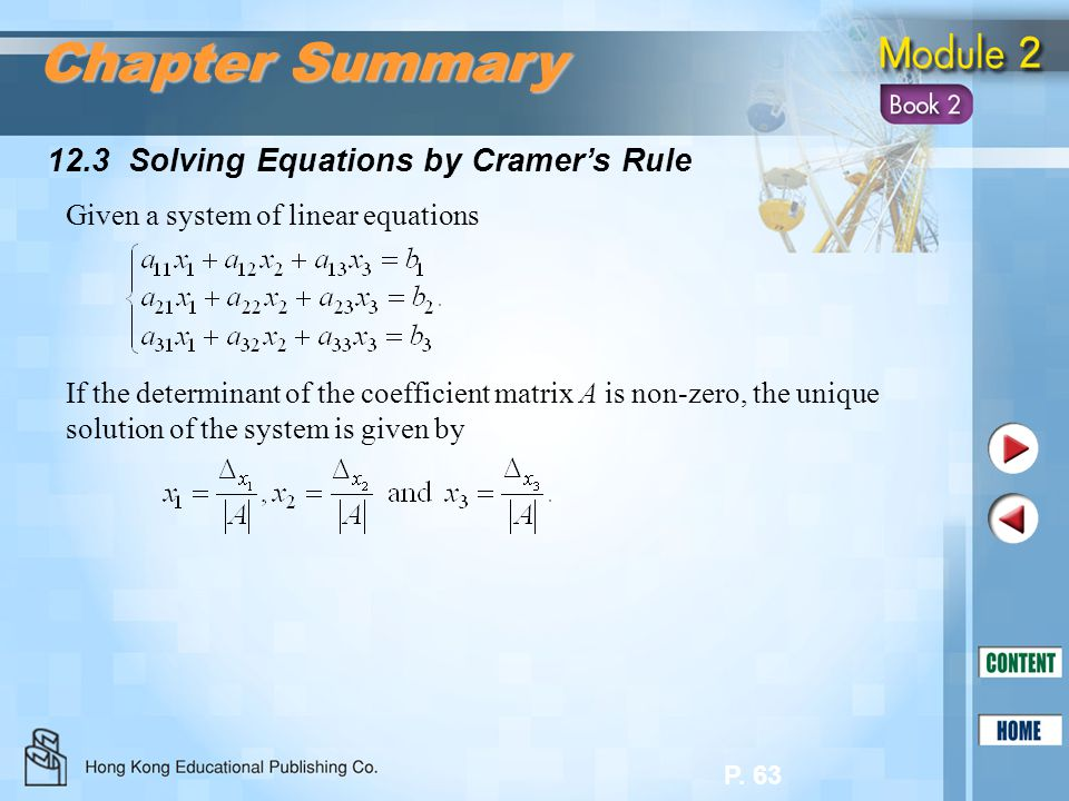 Chapter Summary 12.3 Solving Equations by Cramer's Rule