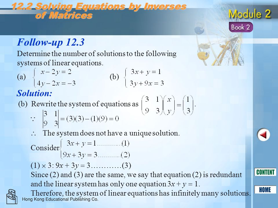 Follow-up 12.3 12.2 Solving Equations by Inverses of Matrices