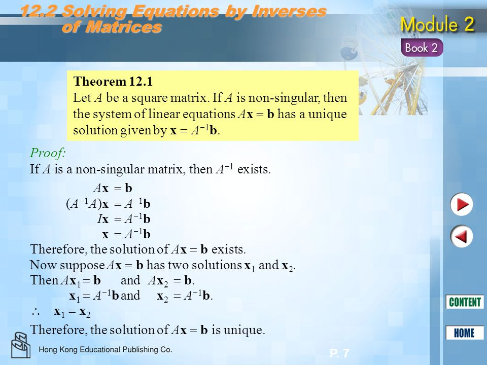 12.2 Solving Equations by Inverses of Matrices