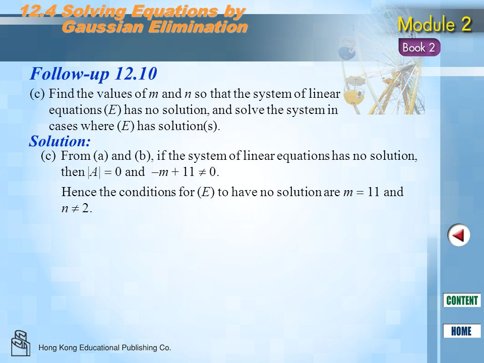 Follow-up 12.10 12.4 Solving Equations by Gaussian Elimination
