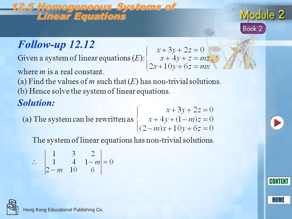 Follow-up 12.12 12.5 Homogeneous Systems of Linear Equations Solution: