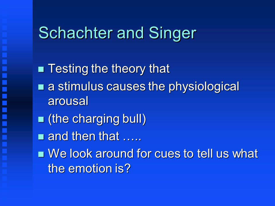 Schachter and Singer Testing the theory that