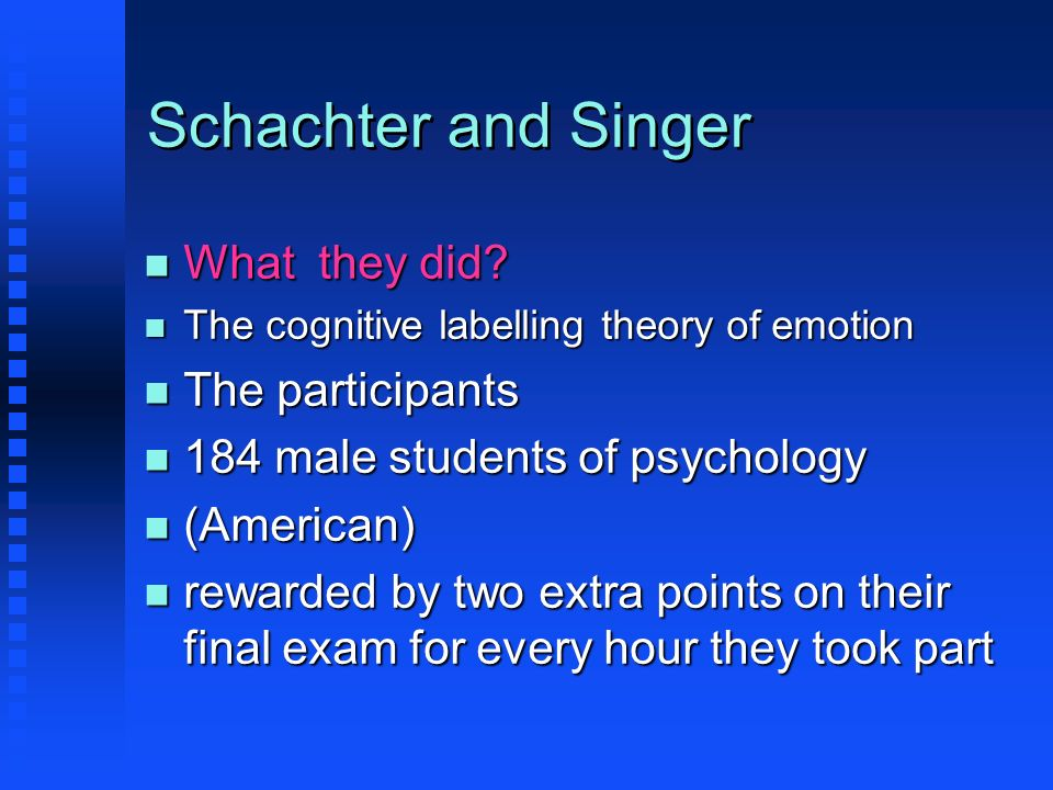Schachter and Singer What they did The participants