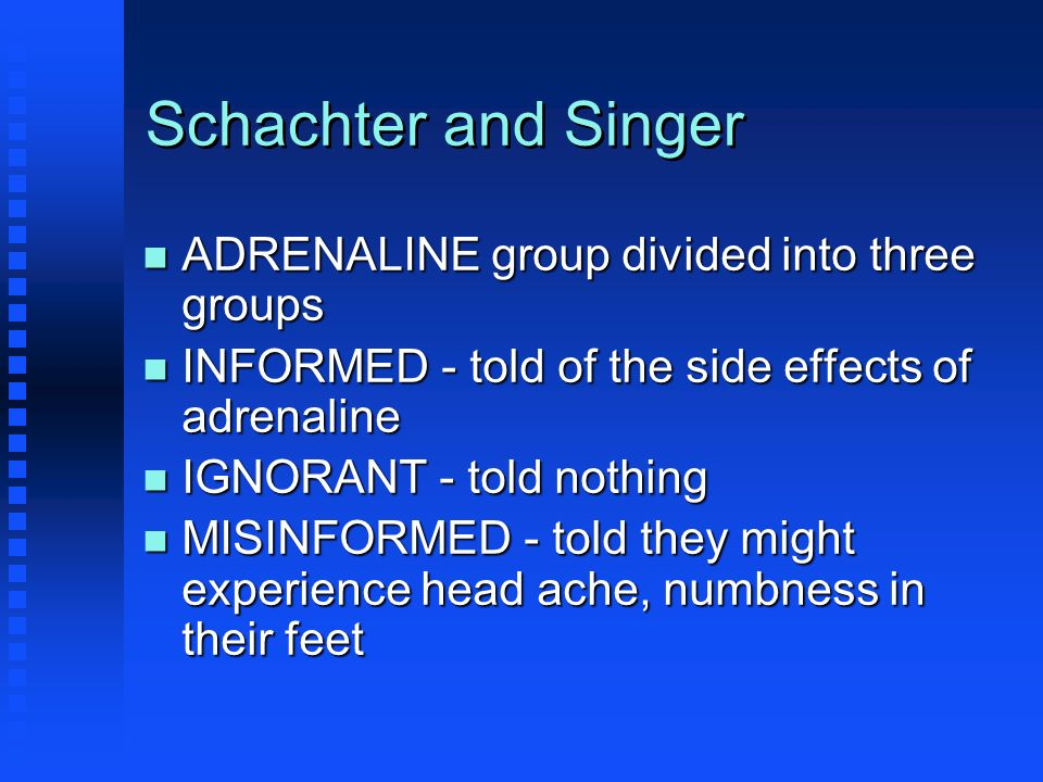 Schachter and Singer ADRENALINE group divided into three groups