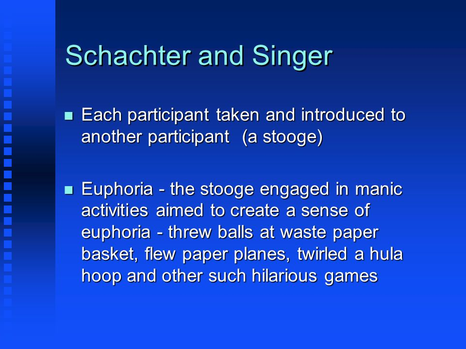 Schachter and Singer Each participant taken and introduced to another participant (a stooge)