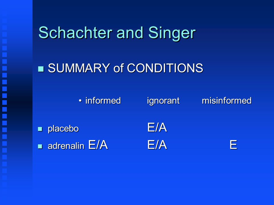 Schachter and Singer SUMMARY of CONDITIONS