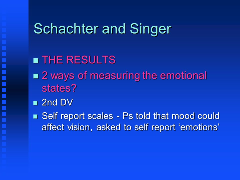 Schachter and Singer THE RESULTS