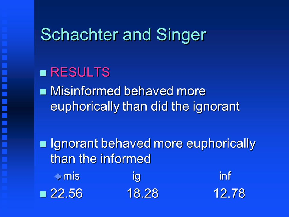Schachter and Singer RESULTS