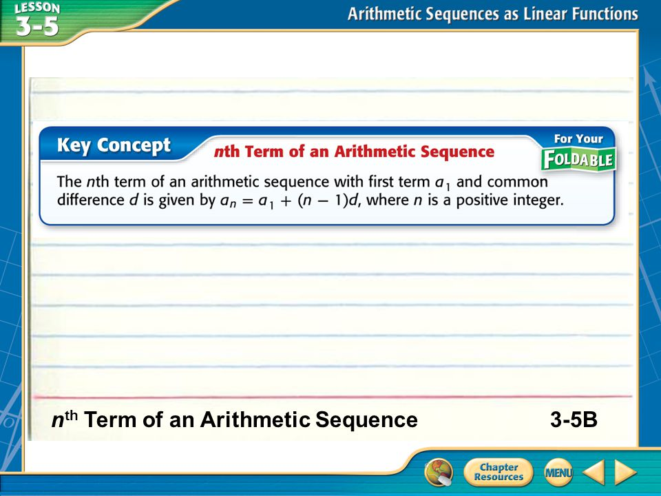nth Term of an Arithmetic Sequence 3-5B