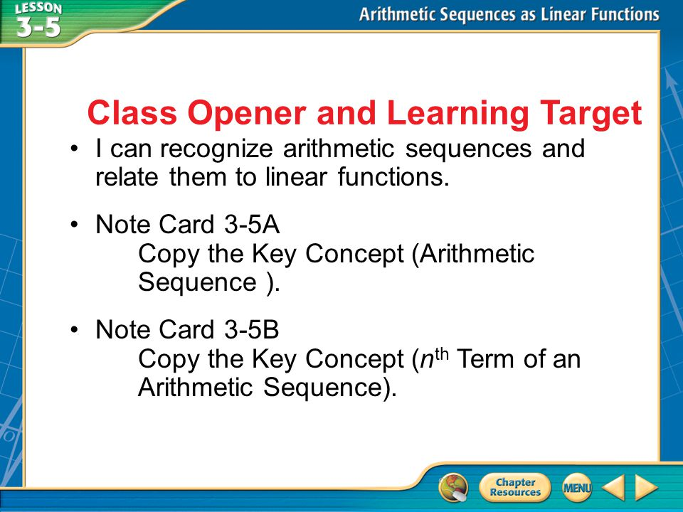 Class Opener and Learning Target