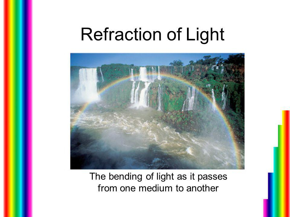 The bending of light as it passes from one medium to another
