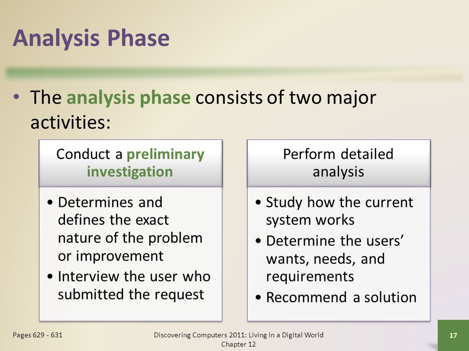 Analysis Phase The analysis phase consists of two major activities: