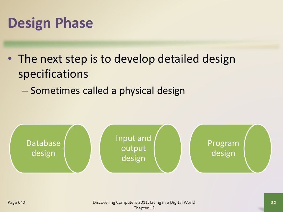 Design Phase The next step is to develop detailed design specifications. Sometimes called a physical design.