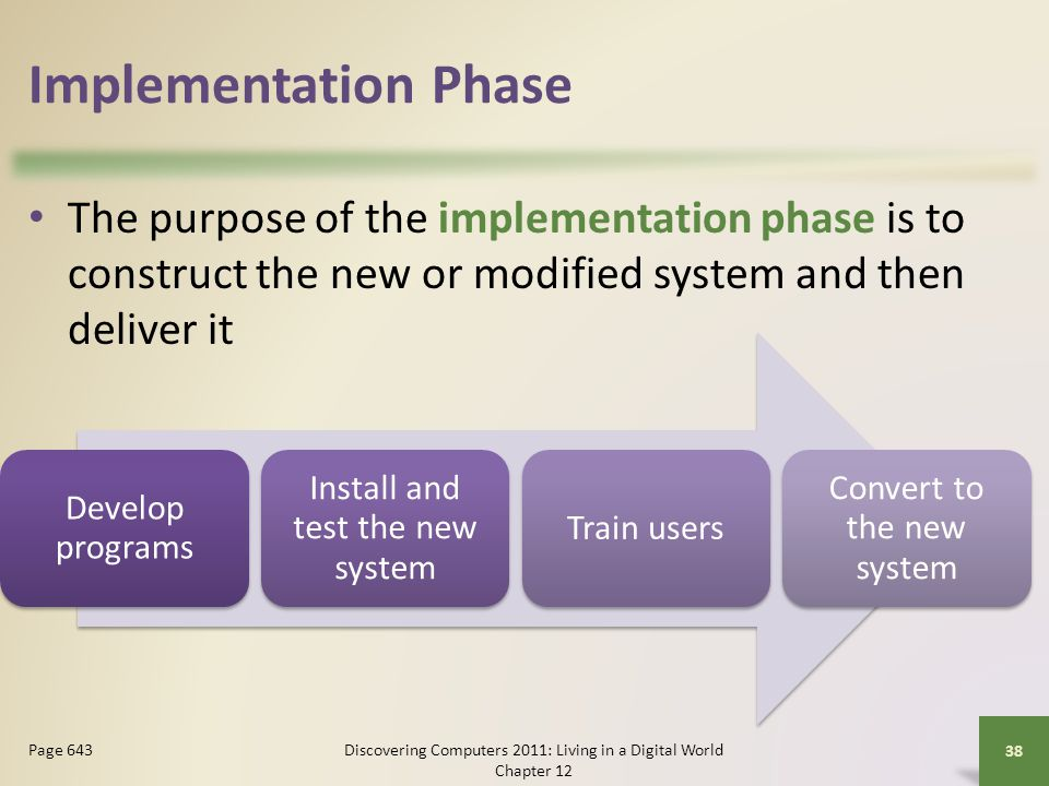 Implementation Phase The purpose of the implementation phase is to construct the new or modified system and then deliver it.