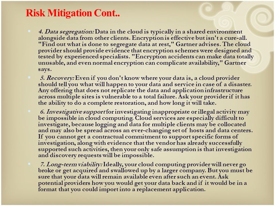 Risk Mitigation Cont..