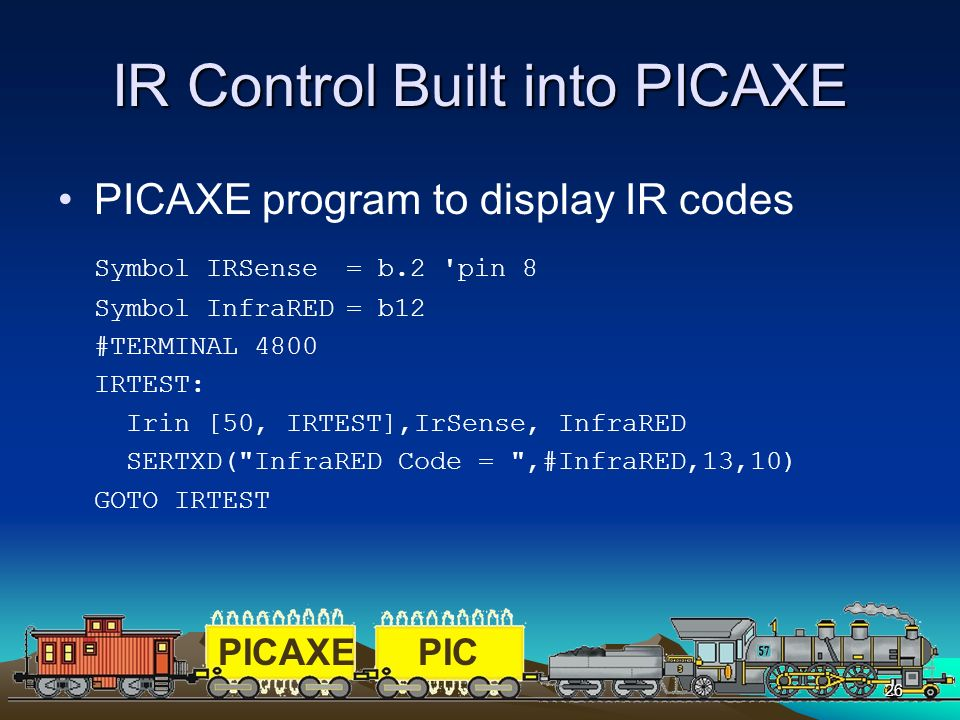IR Control Built into PICAXE
