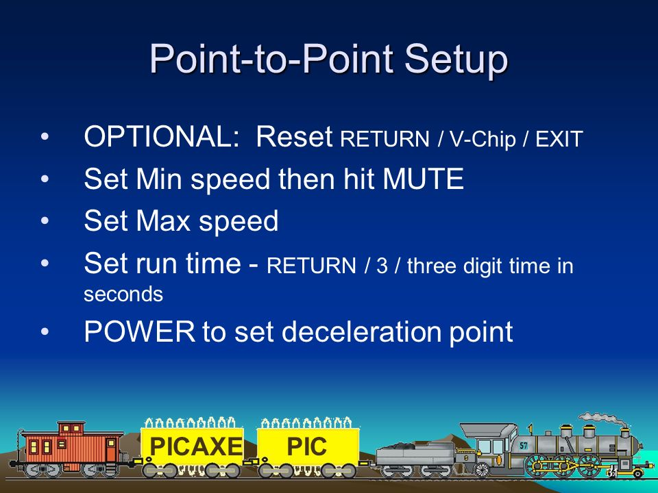 Point-to-Point Setup OPTIONAL: Reset RETURN / V-Chip / EXIT