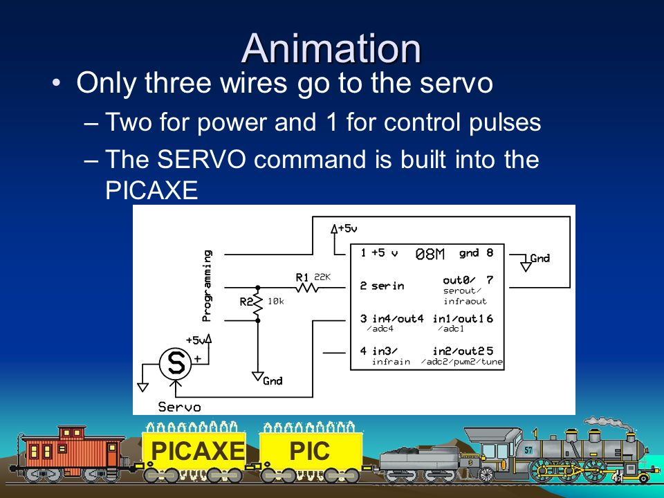 Animation Only three wires go to the servo