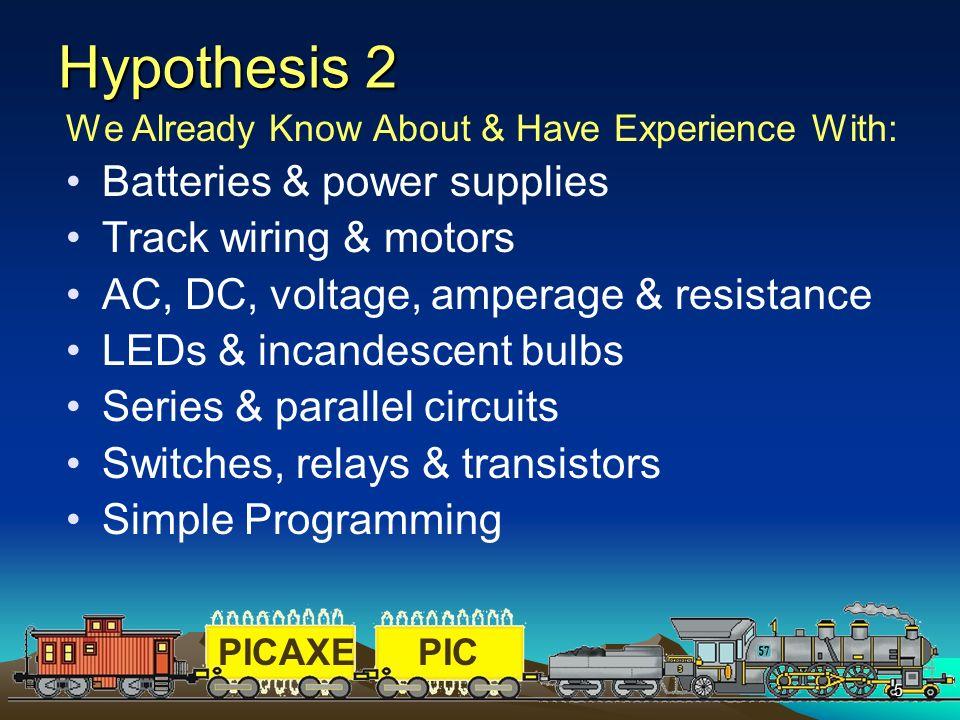 Hypothesis 2 Batteries & power supplies Track wiring & motors