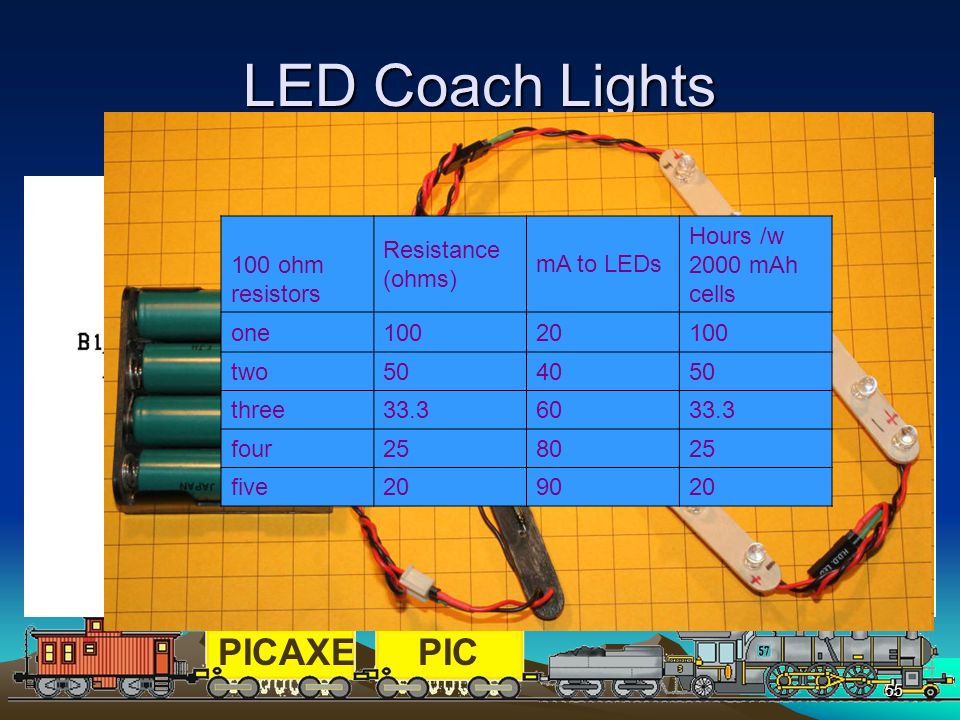 LED Coach Lights Design called for battery operation and enough lights to illuminate g-scale coaches using only 3 to 5 volts.