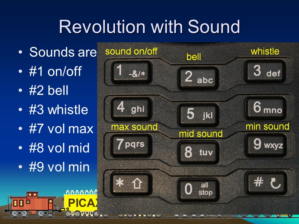 Revolution with Sound Sounds are controlled by the keypad #1 on/off