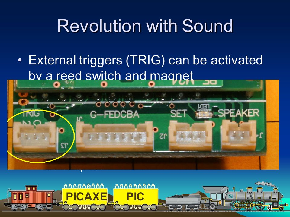 Revolution with Sound External triggers (TRIG) can be activated by a reed switch and magnet.
