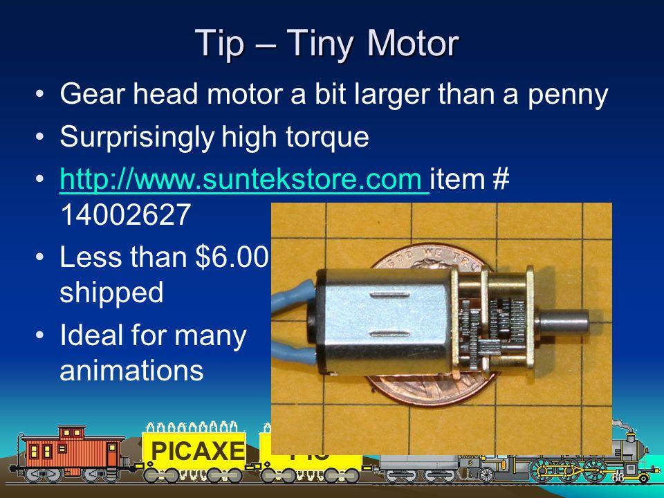 Tip – Tiny Motor Gear head motor a bit larger than a penny