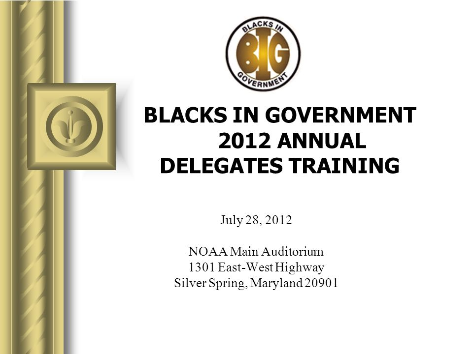 BLACKS IN GOVERNMENT 2012 ANNUAL DELEGATES TRAINING