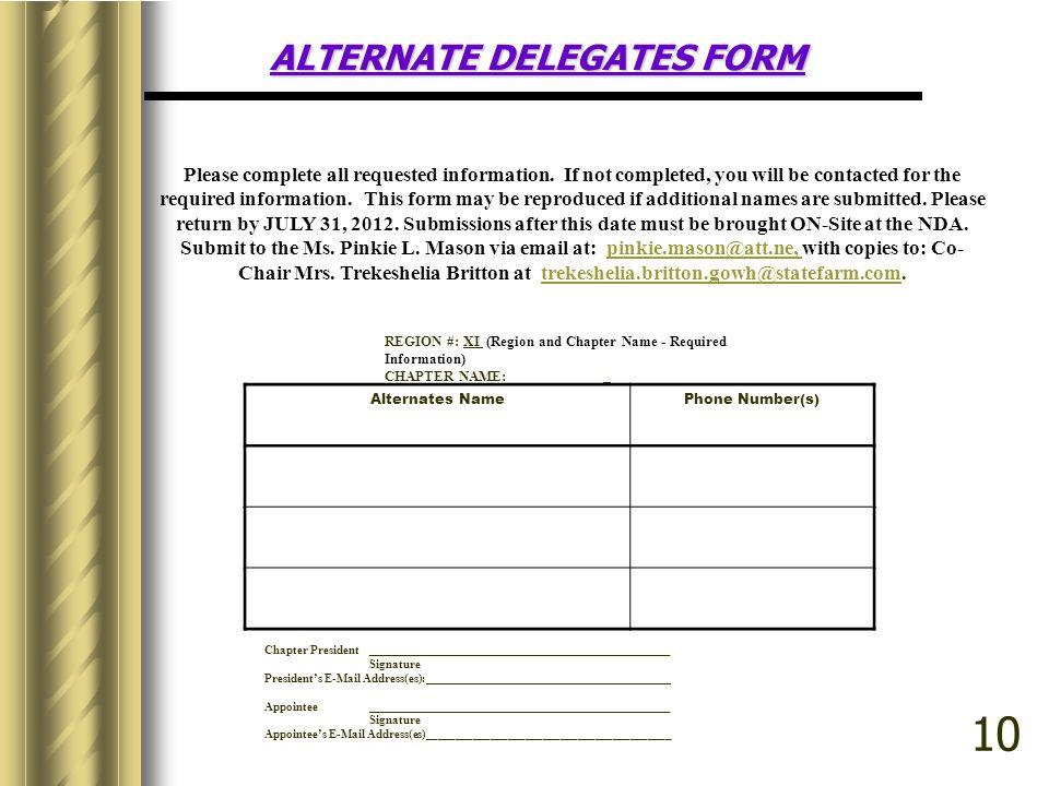 ALTERNATE DELEGATES FORM