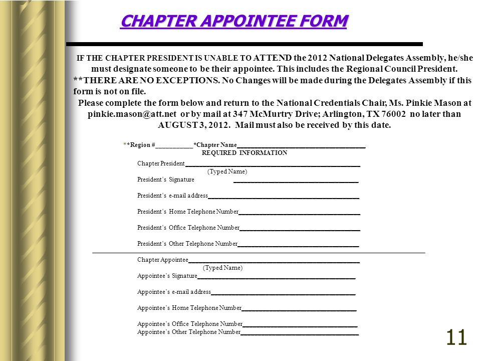 CHAPTER APPOINTEE FORM