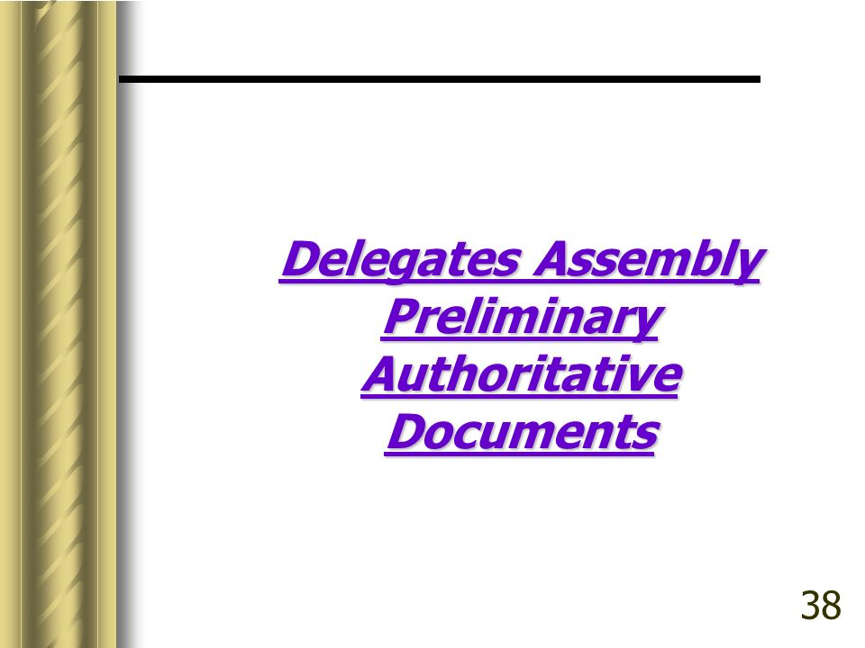 Delegates Assembly Preliminary Authoritative Documents