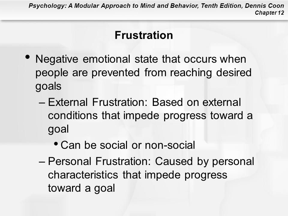 Frustration Negative emotional state that occurs when people are prevented from reaching desired goals.