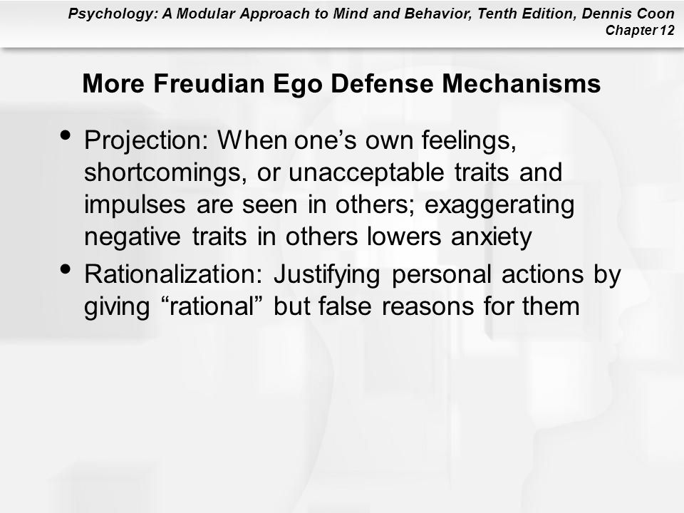 More Freudian Ego Defense Mechanisms